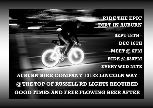 Come Ride with us in Auburn, every Wednesday till Xmas